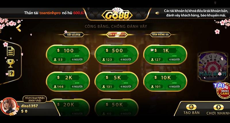 game bài go88 hướng dẫn chơi mậu binh xập xám